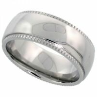 Men's Comfort Fit Stainless Steel Size 11 Wedding Band 8mm Domed Design C24