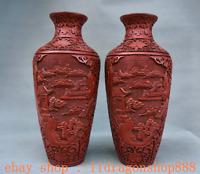 """12 """"Qianlong Marqué Chine Laque Rouge Peinture Décor Bouteille Vase Paire"""