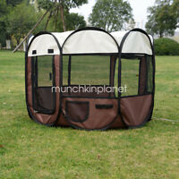 """35"""" Brown Pet Soft Play Crate Cage Enclosure Tent Playpen Puppy Dog Cat Portable"""