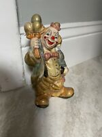 Vintage Painted  Clown Figurine Piggy Bank Collectible Rare Circus Small Balloon