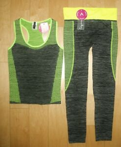 ALWAYS WOMEN'S ACTIVE WEAR WORKOUT SET PANTS & TOP STRETCHY ONE SIZE S/M/L NWT
