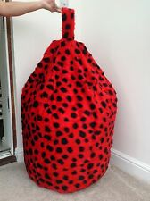 COVER ONLY ADULT RED LADYBIRD BEAN BAG FAUX FUR LARGE 6 CUBIC FT SIZE LUXURIOUS
