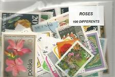 """Lot 100 timbres thematique """" Roses"""""""