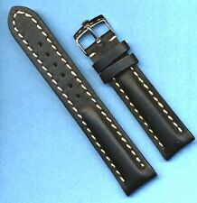 22mm GEN. BLACK LEATHER MB STRAP BAND WHITE STITCH PADDED & STEEL ROLEX BUCKLE