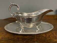 More details for a quality antique silver plated gravy~sauce boat & plate by jones bros