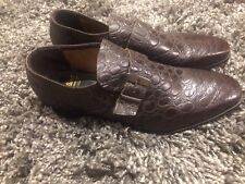 "VTG? Fortune ""Boutique"" DRESS SHOES SZ 8 D ALLIGATOR PRINT DARK BROWN BUCKLE EUC"