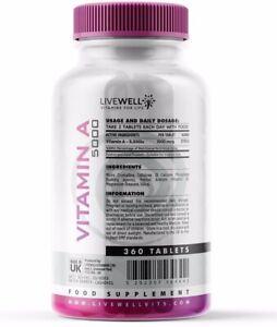 Vitamin A 5000iu | 1500mcg Tablets | Retinol Acetate High Strength | Vision