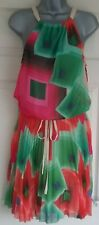 Desigual Delia Dress EUR 36 UK 8 Floaty Pleated Bright Chiffon Beige Pink