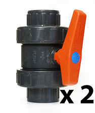 "2 x Ball Valve 1.5"" - Double Union - Premium Koi Pond, Filter Gate Valve, Carp"