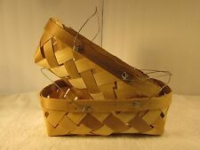 2 Baskets. woven wicker farm country style wire handle produce fruit flower eggs