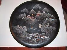 """Vtg Japanese Black Lacquer & Mother Of Pearl Inlay Round Tray - Signed - 16"""""""