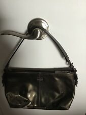 Authentic Small Coach Handbag Metallic Patent Leather Pewter Women's