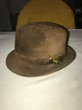 Vintage Men's Corduroy Brown Hat with Feathers Hatters Cap & 7 1/4 - 7 3/8
