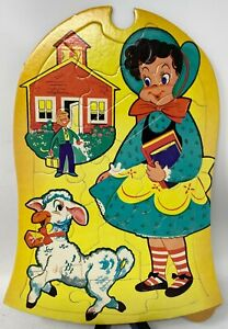 Vintage 1950s Nursery Rhyme Puzzle Mary Had A Little Lamb Its Fleece Was White