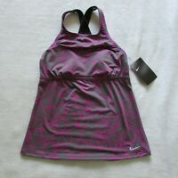 Nike Women's Tankini Swimsuit Top Dark Gray & Pink NESS8356-580 Size: Small