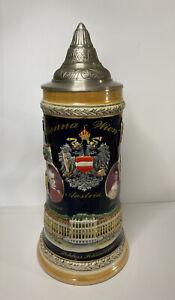 Vintage German Beer Stein W Pewter Lid, Vienna Wien Austria
