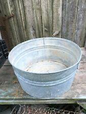 Primitive Galvanized Wash Tub 22 IN Round Farm House Planter
