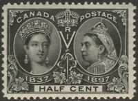 CANADA 50 1897 1/2c BLACK QUEEN VICTORIA JUBILEE MNH VF CV$420