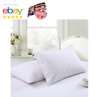 2 x Goose Down Feather Pillows Pair Luxury Hotel Quality Soft Bed Microfibre