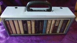 Vintage 16 Cassette Tape Storage Holder Carry Case PLUS CASETTES RETRO 60s 70s