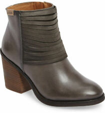 PIKOLINOS ALICANTE GRAY LEATHER BLOCK HEEL ANKLE BOOTS SIZE 39/US 8-8.5 $215+