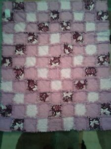 Pink Butterflies and Stars Flannel Throw Rag Quilt