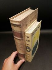 2 Antique Vintage Style Wood Faux Book Secret Box