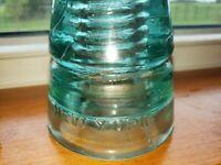 W Brookfield New York - Vintage Aqua Glass Insulator -