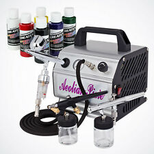 New 6 Colors 3 Airbrush Kit Air Compressor Dual-Action Createx Primary Paint Set