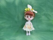 """5-1/2"""" Bjd Jointed Body Carrot Red Hair Brown Eyes Makeup Dress Shoes Hair Bow"""
