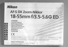 Nikon 18-55mm F3.5-5.6G ED AF-S DX Zoom Nikkor Instruction Manual multi-language