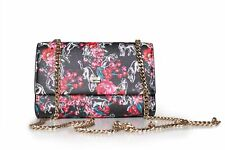 """CAVALLI Class """"Night Garden"""" Womens Small Shoulder Bag Floral Black New & Tags"""