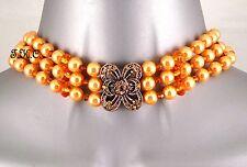 Designer Vintage Baroque Goth Masquerade Ball Coral Orange Peach Choker Necklace