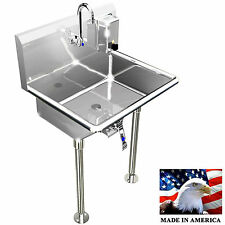 "HAND SINK WASH UP 1 STATION 24"" HANDS FREE INDUSTRIAL BASIN STAINLESS STEEL 304"