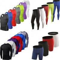 Mens Compression Workout Gym Tops Tank Tee Shorts Pants Sports Trainning Clothes