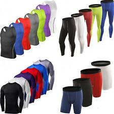 Men Sport Compression Under T-Shirts Base Layer Tights Short Pants Athletic Wear