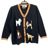 Storybook Knits Womens Dog Show Cardigan Sweater Black Plus Size 2X
