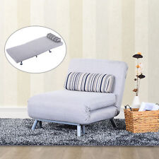 Homcom Futon Sofa Bed Bolster Foldable Lounge Modern Portable Living Room Grey