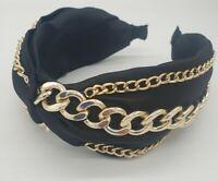 Wide Black Satin Cute Gold Look Chain Alice Band Head band Headband Twist Knot