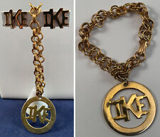 VTG Eisenhower Presidential Campaign Ike Gold Charm Bracelet Screw Back Earrings