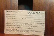 Vintage Railway Express Agency Inc Postcard Final Notice to Seller  Unused (c)