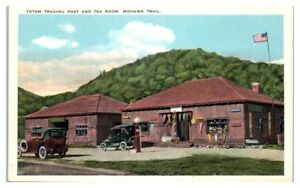 Early 1900s Totem Trading Post and Tea Room, Mohawk Trail, MA Postcard *214