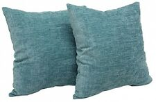 "2 Pack Teal Blue Chenille Decor Throw Pillows Textured Design 18x18"" Square Each"