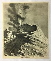 1877 magazine engraving ~ CRATER OF MOUNT VESUVIUS, Italy