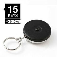 "KEY-BAK 3B Black Model ORIGINAL Retractable 24"" Chain Key Ring Reel w/Belt Loop"