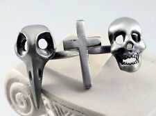 RAVEN SKULL CROSS KNUCKLE DUSTER TWO FINGER RING SILVER ART WICCA GOTH STATEMENT