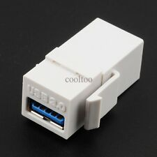 White USB 3.0 Keystone Insert Coupler HD Wall Plate Adapter Jack female/female