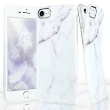 For Apple iPhone 8 7 Plus Marble Pattern Soft TPU Phone Case+Tempered Glass