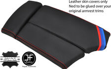 RED STITCH M STRIPE SLIDING ARMREST REAL LEATHER COVER FOR BMW E60 E61 03-11