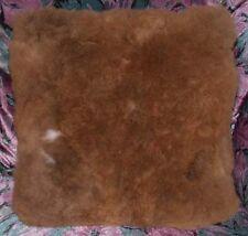 "Alpaca Fur Throw Pillow Brown 15"" x 16"" Handmade in Peru"